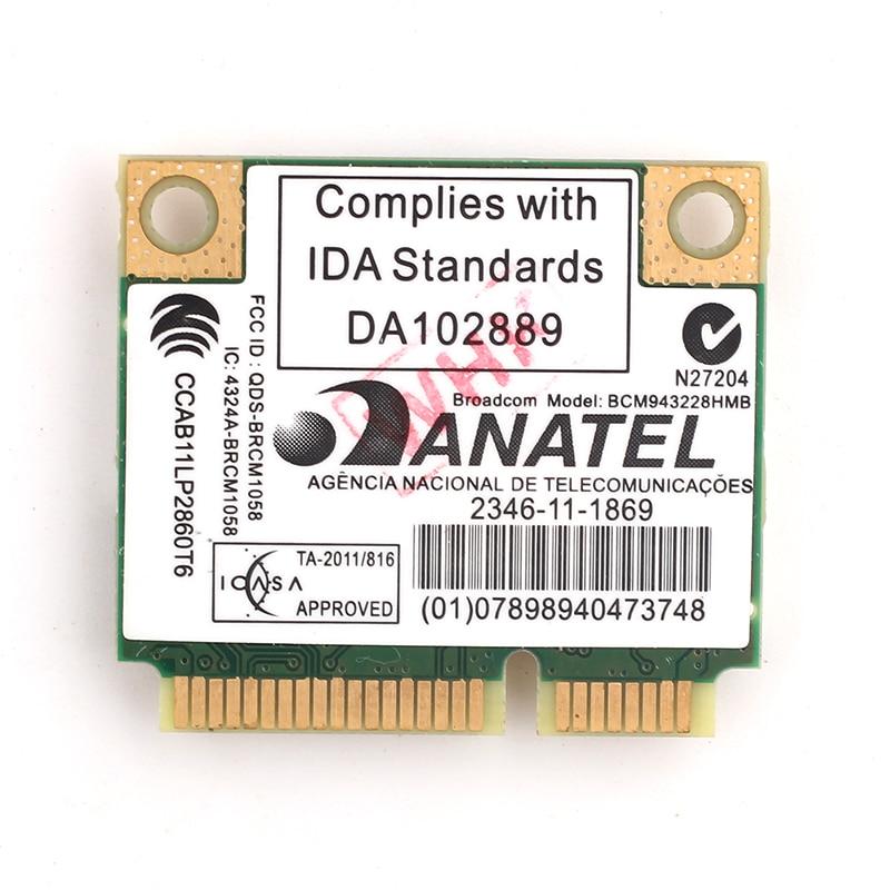 Dual Band Broadcom BCM943228HMB 802.11a/b/g/n 300Mbps Wifi Wireless Card Bluetooth 4.0 Half MINI pci-e Notebook Wlan 2.4Ghz 5Ghz