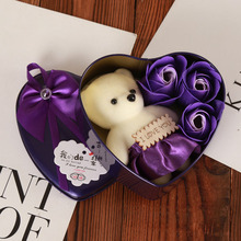 Handmade lovely teddy bear plush toys with soap flowers heart shape gift box creative Valentines and birthday for girls