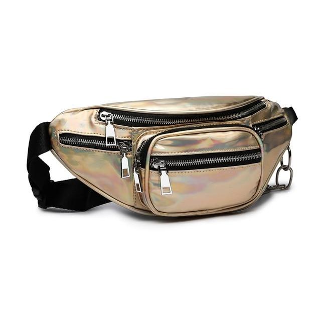 c2a85a1558e6 US $34.95 24% OFF Miss Lulu Holographic Women Laser Bum Bag Travel Beach  Shiny Waist Bags Hengreda Raves Hip Bag Fashion Hologram E6831-in  Top-Handle ...