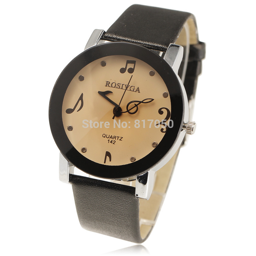 New Luxury Brand Women Dress Watches Music Note Dial Brown Glass Qaurtz Movement Leather Strap Bangle Ladies Wrist Watch