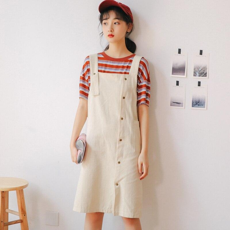 2019 Mujeres Vestido Suelto Moda Coreana Primavera Verano