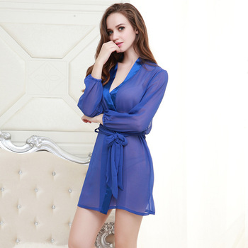 New ladies spring and summer sexy chiffon robe transparent Siamese fun home service blue cool pajamas pregnant women new men and women long sleeved siamese sunscreen snorkeling service hooded diving sun clothing jellyfish siamese swimwear
