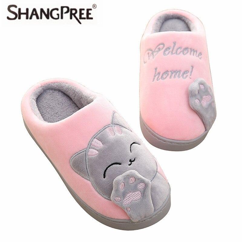 Women slippers Warm lovely Cat Winter Shoes Women Home Slippers Comfort soft Home Shoes For Women