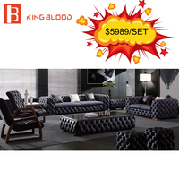 Classic Antique Chesterfield Leather Sofa Set