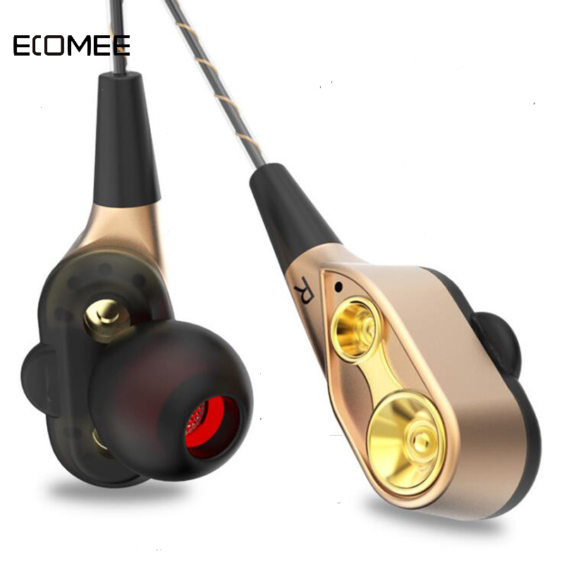 ECOMEE Wired Earphone High Bass Dual Drive Stereo V3 Headphone Sport Headset With Microphone Computer Earbuds For Phone Samsung