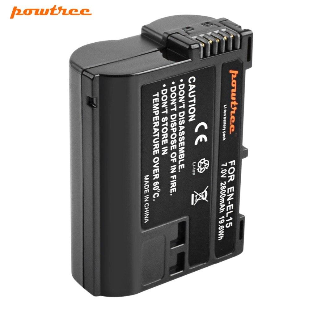 Powtree EN-EL15 batterie d'appareil photo ENEL15 EN EL15 pour Nikon D500, D600, D610, D750, D7000, D7100, D7200, D800, D850, D810, D810A & 1 V1 Rate L10