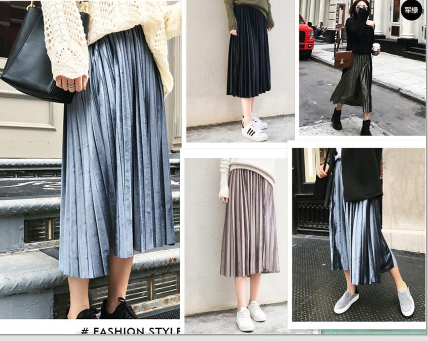 2018 New Fashion Autumn Women Suede Skirt green black Long Pleated Skirts Womens Saias Midi Faldas Vintage Women Midi Skirt