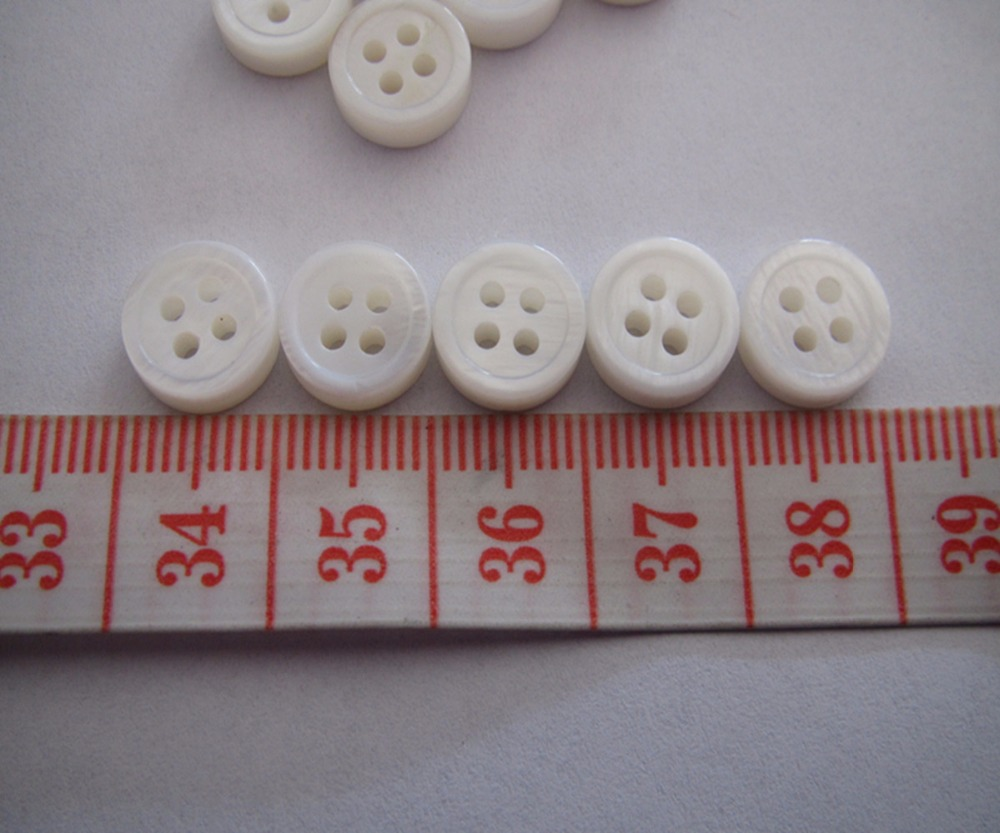 Free shipping 10mm shirt shell button double white round edge thick 3mm fashion blouse mother of shell button 100pcs
