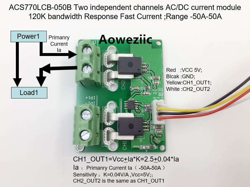 Aoweziic ACS770LCB-050B ACS770LCB ACS770 Two independent channels AC/ DC current detection module Rang:-50A-50A 1pcs current detection sensor module 50a ac short circuit protection dc5v relay page 7