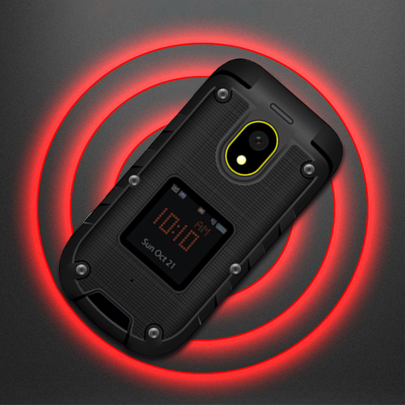Ioutdoor F2 Three Prevention Feature Slim Flip Rugged Waterproof Dual Display Docking Station SOS Torch LED Senior Mobile Phone