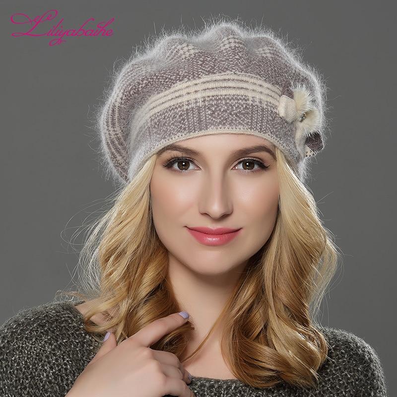 LILIYABAIHE JAUNA ziemaSieviešu berete cepure adīta vilna angora berete Klasisks ūdeles ziedu dekoratīvais vāciņš Dubultā silta cepure