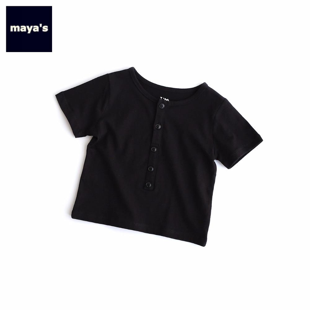 Kids Shirts 82050 Toddler Vintage Short-Sleeves Children Tops Solid-Color Black Summer