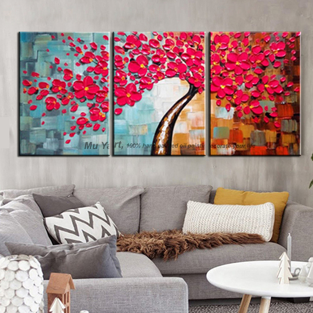 3 Piece Wall Art Decor Red Tree Abstract Knife Acrylic Flower Painting For Sale Canvas