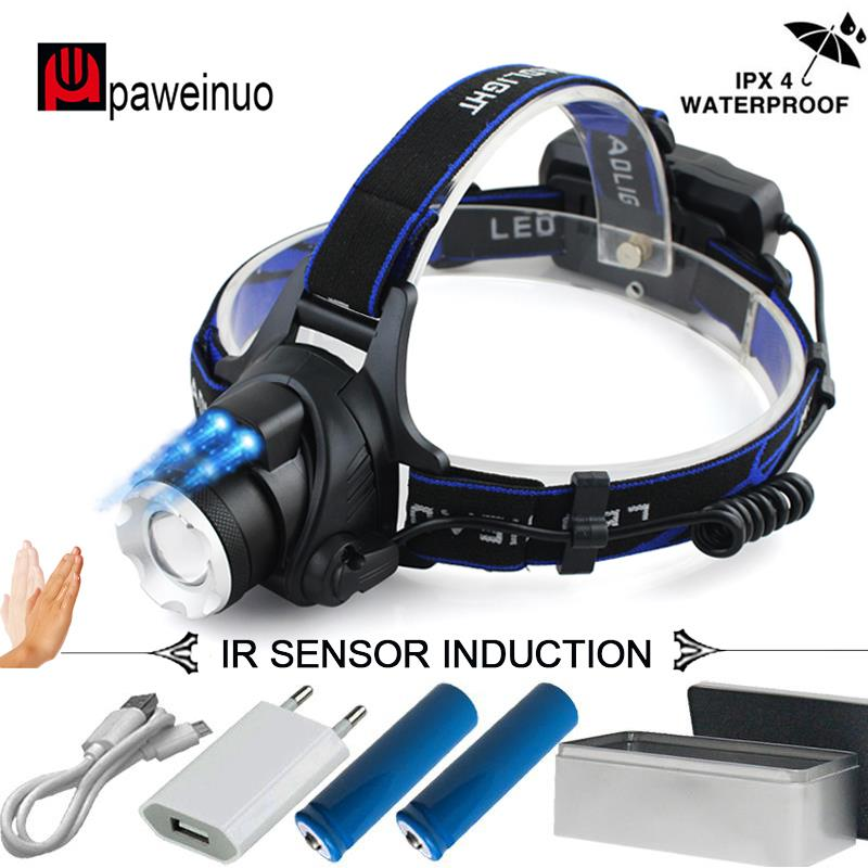 Sensor de infrarrojos inducción led faro XML L2 la luz de la cabeza Micro USB recargable lámpara de la linterna zoom linterna de cabeza 18650 Luz