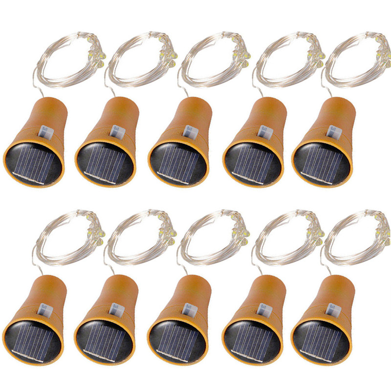 10PC 10/15/20 Leds Solar Powered Wine Bottle Copper String Light IP65 Waterproof DIY Indoor/Outdoor Decoration For Party,Wedding