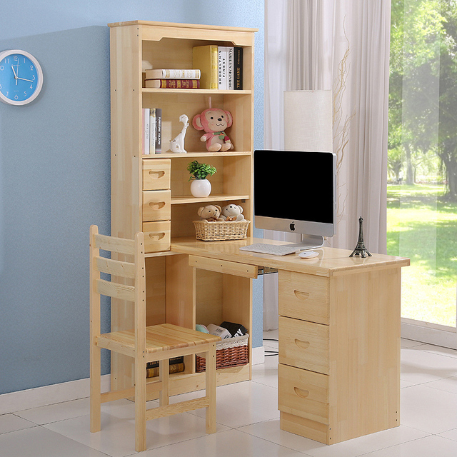 legno massello desktop del computer angolo scrivania libreria ... - Scrivania In Legno Per Bambini