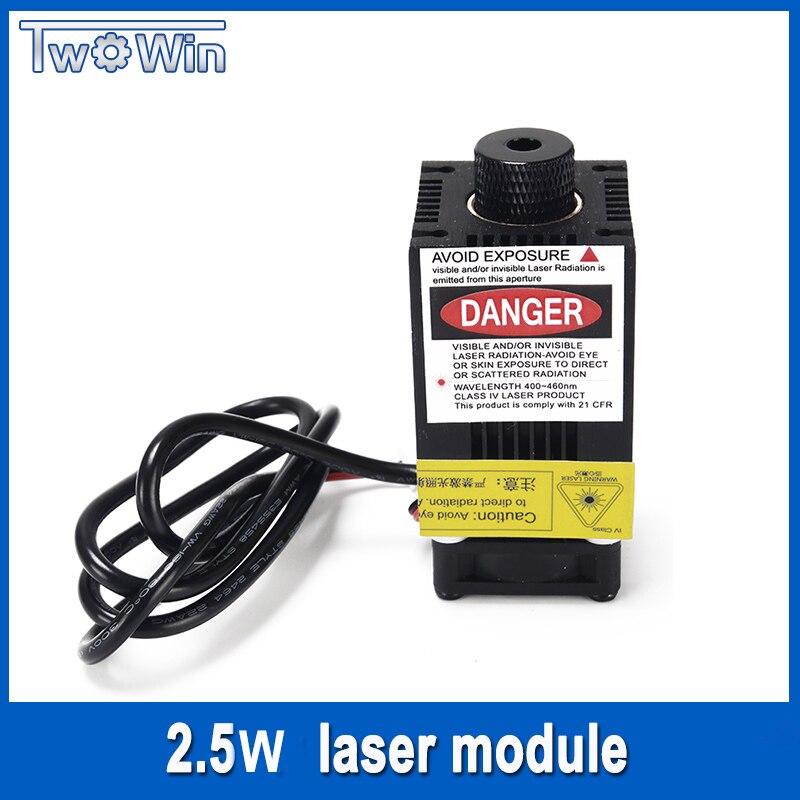 2500 mw Module Laser 450NM En Se Concentrant Bleu Laser Tête Laser Gravure, 2.5 w Laser Tube Diode hx2.54 2 p Port + De Protection Googles