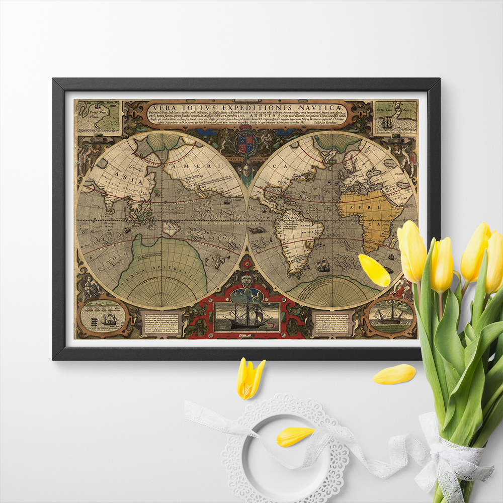 Retro Historical Map Reproductions Early Old World Maps Posters And