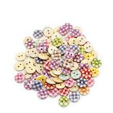 100 шт 15 мм Разнообразные смешанные 2 круглые отверстия шаблон для шитья, деревянные пуговицы скрапбукинга