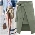 S-XL 2016 Summer New Casual Fashion Elegant Vintage Sexy Slim Bodycon Bandage Bow Split OL Lady Women Pencil Midi Skirt