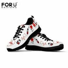 FORUDESIGNS Flat Shoes Women Nurse Heart Printing Sneakers for Female Low Top Breathable Mesh Teen Girls Kawaii Flats