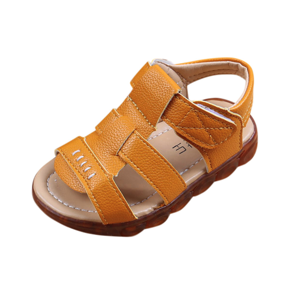 ARLONEET Baby Solid Led Light Beach Shoes Boys Soft Leather Luminous Outdoor Roman Sandals Kid 0 to 9 Years Drop Shipping 30S423