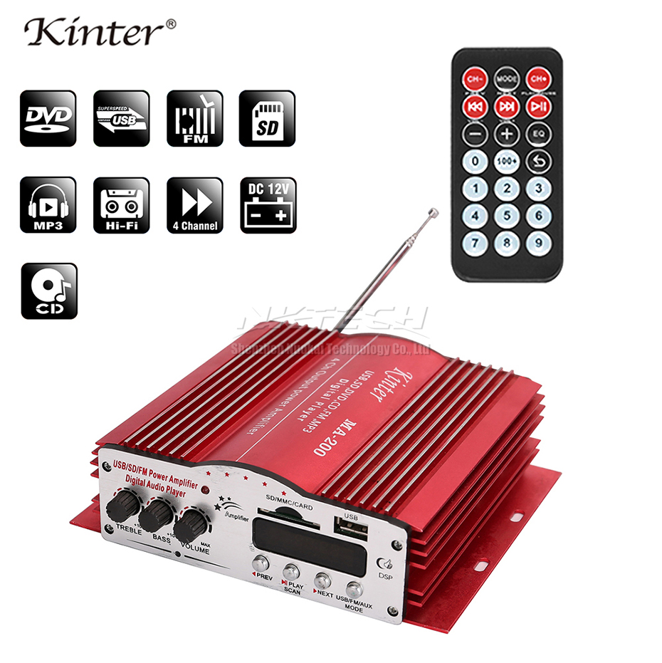 Kinter Mini Digital Audio Player 4-CH USB SD MP3 FM Car Stereo Amplifier MA-200