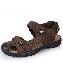 2017 Toe Proteger Al Aire Libre Zapatos de Cuero Sandalias de Verano Sandalias de Cuero Para Hombre Zapatos Casuales de Playa Transpirable Zapatillas de Punta Estrecha