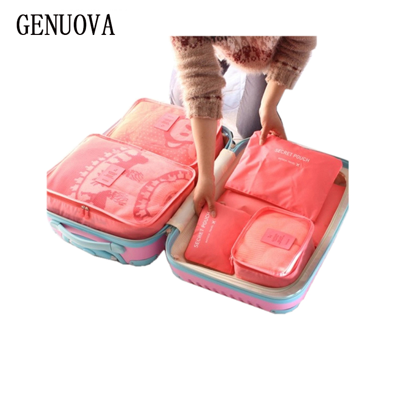 6 Pieces One Set Luggage Nylon Packing Cube Travel Bags System Durable Large Capacity of Unisex Clothing Sorting Organize Bag
