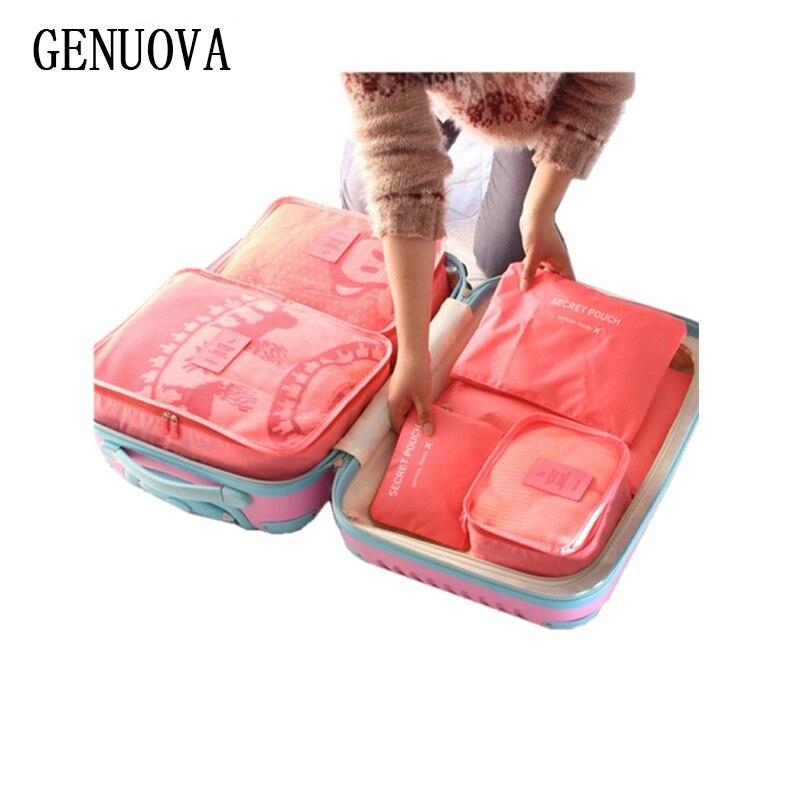 6 stücke Ein Satz Gepäck Nylon Verpackung Cube Reisetaschen System Durable Große Kapazität von Unisex Kleidung Sortierung Organisieren Tasche