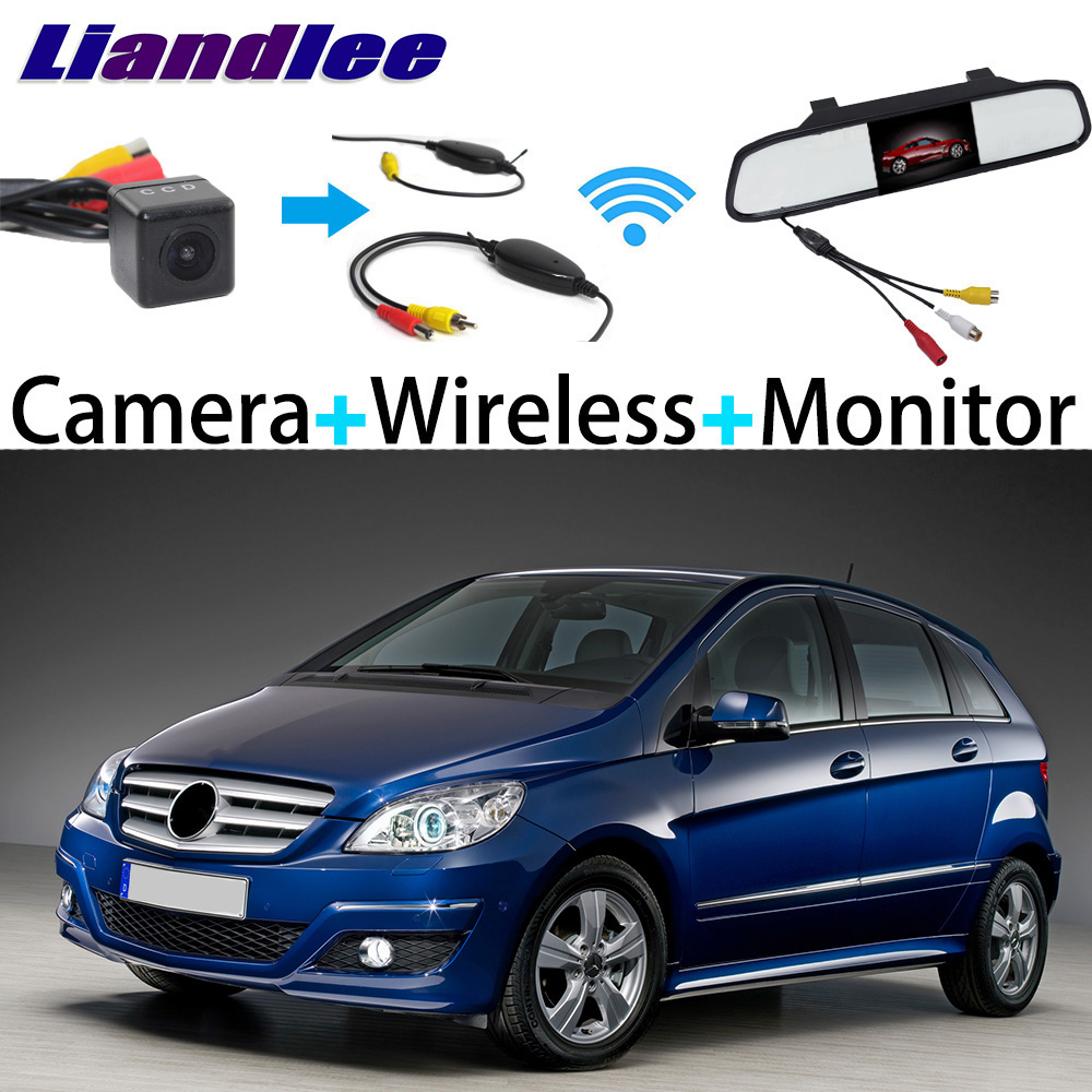 Liandlee 3in1 Wireless Receiver Mirror Monitor Special Rear View Camera Backup Parking System For Mercedes Benz B Class MB W245 liislee 3in1 special camera wireless receiver mirror screen diy rear view parking system for mercedes benz mb b class w245