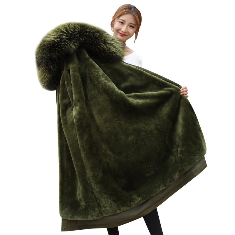 High Quality Natural Sheepskin Coat Winter Women Warm Parker Women Sheep Shearing Liner Real Fox Fur Coat Female Thicken Outwear
