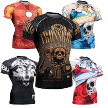 Brand Men's Sports underwear Compression Base Layer Short Sleeve Shirts Workout Fitness MMA Gym Running Body building
