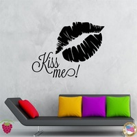 Wall Stickers Vinyl Decal Quote Kiss Me Lips Romantic Decor
