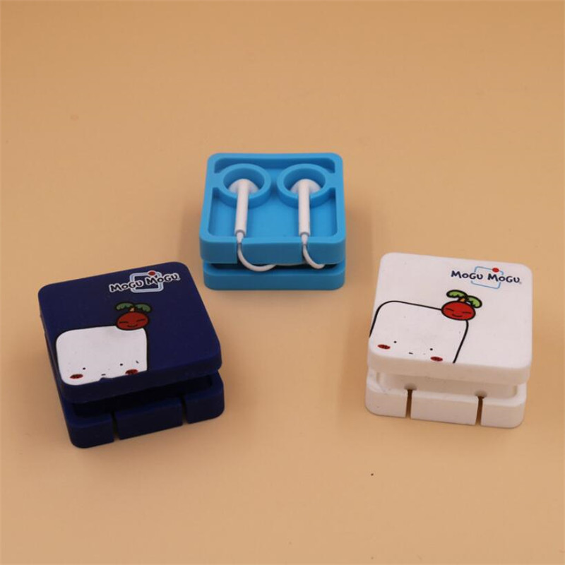1PCS Cute Earphone Holder Cable Winder Cord Organizer Earphone Case Container Storage Box Management