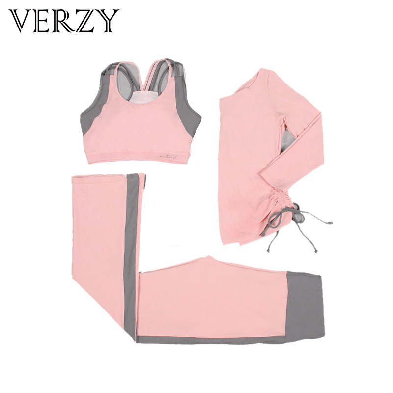 2017 New Pink+Black Colors Women Yoga Set Tights Jogging Running Fitness Outdoor Breathable Bra+Pants+Shirt 3 Pieces Sport Suit все цены
