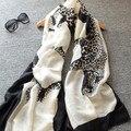 Women Scarves Big size 190*100CM Original Black and White Double Leopard Scarf Shawl Elegant Women Beach Sunscreen Pashmina