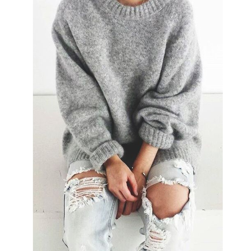 Womens Easy Knit Sweater Jumper Vintage O neck Long Sleeve Thick ...