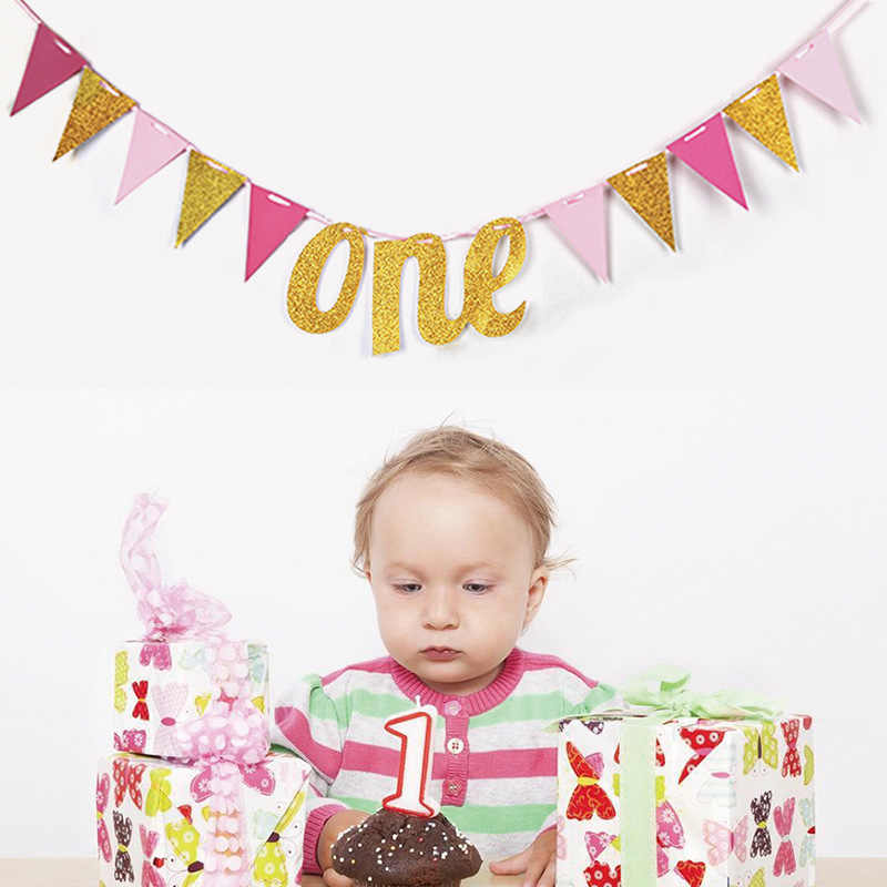 First Birthday Banner Flag Monthly One Year Old Baby Shower Boy Girl 1st 1