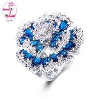 ZHE טבעות מסיבת קוקטייל פרח מאוורר כחול ירוק רב פייב AAA מעוקב Zirconia אופנה תכשיטי טבעת נישואים יוקרה לנשים