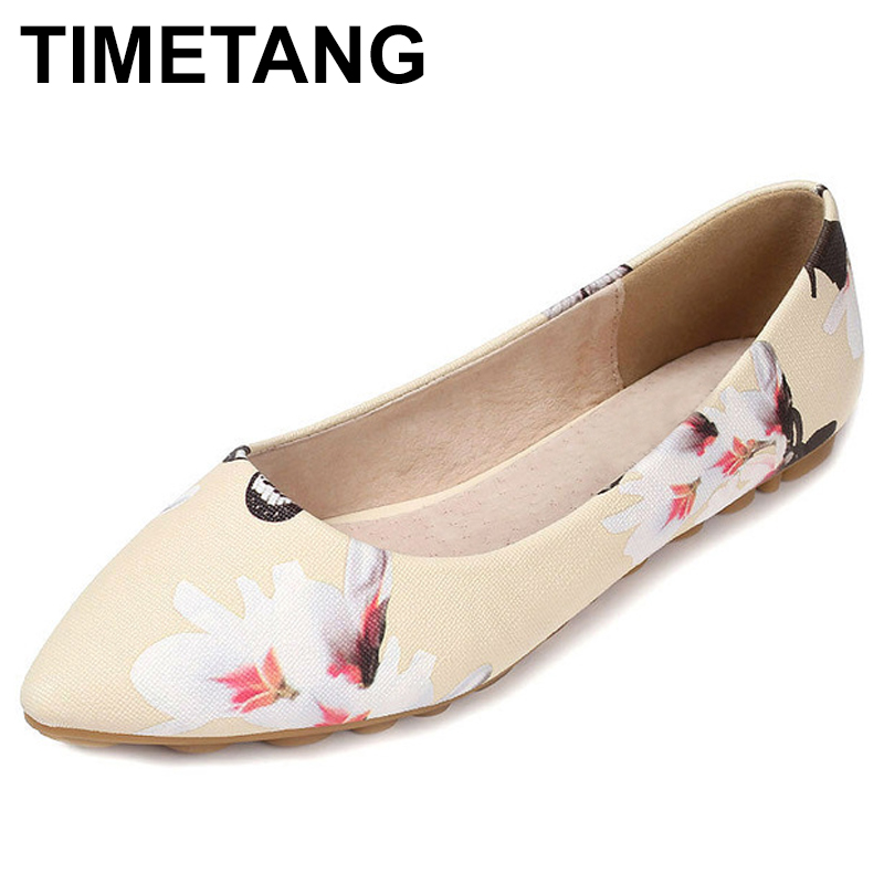 TIMETANG New Big Size Women's Shoes Floral Print Spring Ladies Flats PU Casual Flat Shoes Women For Summer Point Toe  C098 flat shoes women pu leather women s loafers 2016 spring summer new ladies shoes flats womens mocassin plus size jan6