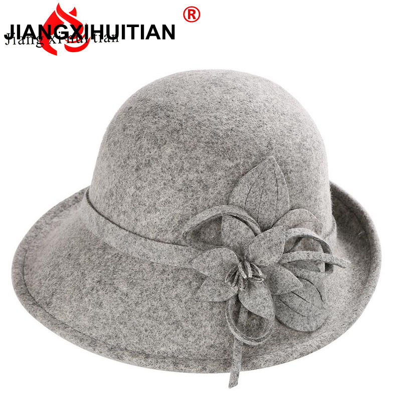 Female Winter Australia Wool Vintage Floral Womens Fedoras Felt Hats Fashion French Bowler Sombrero Fedora Wool Hat For Women