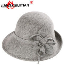 Female Winter Australia Wool Vintage Floral Womens Fedoras F
