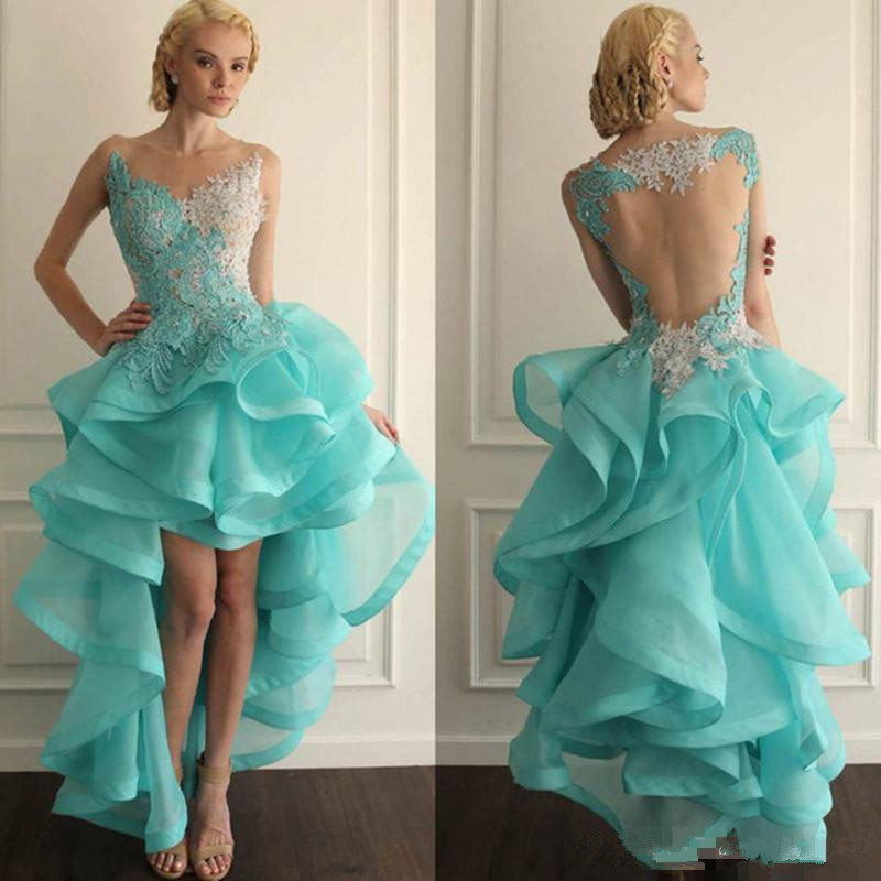 Turquoise 2019   Cocktail     Dresses   A-line V-neck Tulle Lace Ruffles Hi Low Elegant Party Homecoming   Dresses