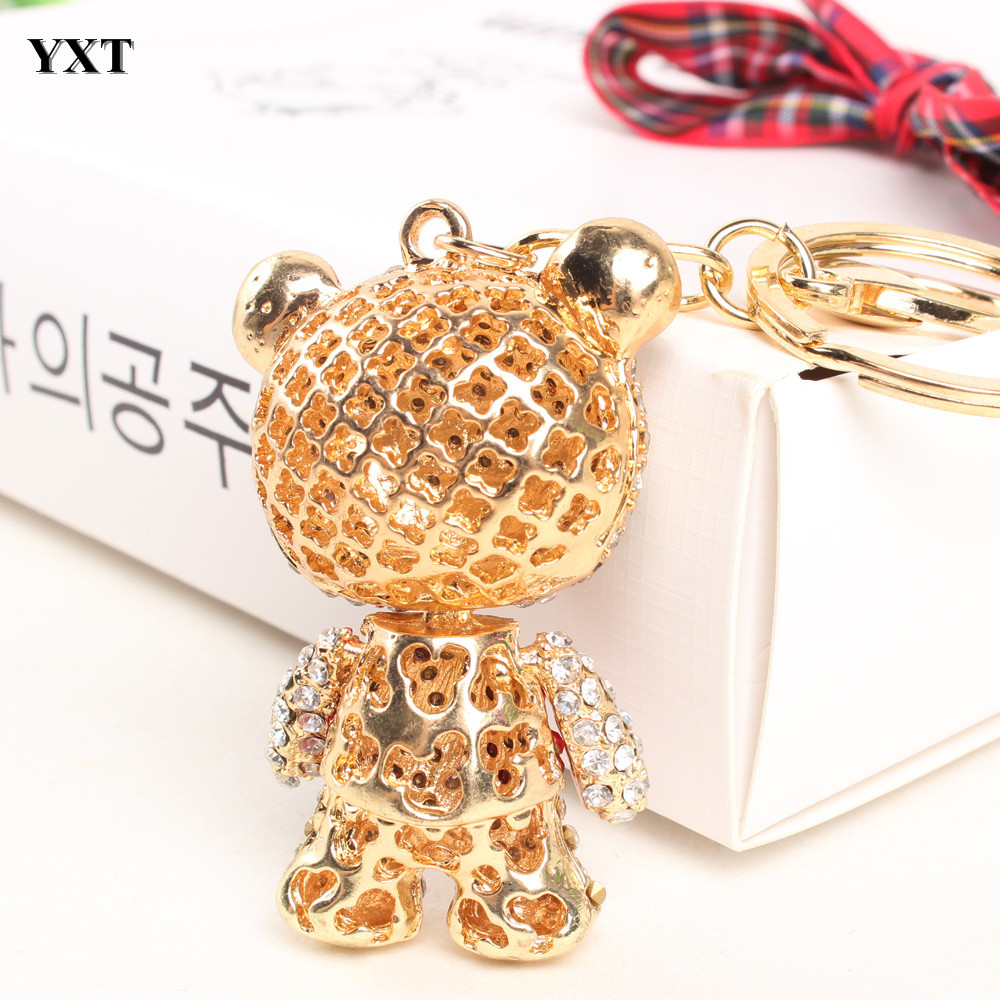 Panda Skirt Red Arm Head Move Pendant Charm Pendant Cute Rhinestone Crystal Purse Bag Car Key Ring Chain Jewelry Gift