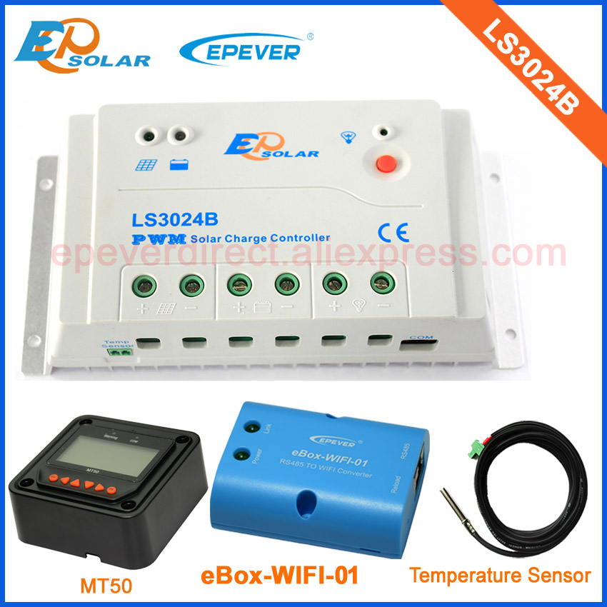 PWM solar controller 30A 30amp LS3024B by factory direct supply with MT50 wifi box and temperature sensor mppt 30a 30amp controller factory direct supply low price tracer3210cn with wifi function and usb temperature sensor