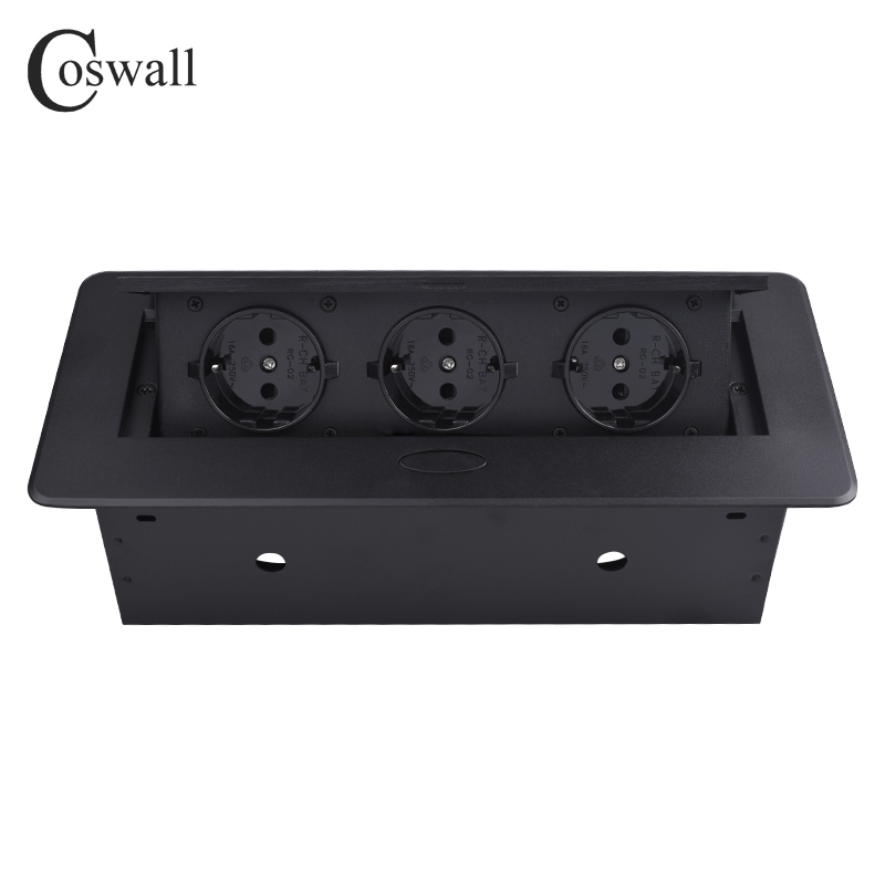 COSWALL Zinc Alloy Plate 16A Slow POP UP 3 Power EU Socket Office Meeting Room Hotel Table Desktop Outlet Matte Black Cover