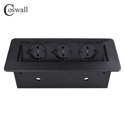 COSWALL Zinklegering Plaat 16A Slow POP UP 3 Power EU Socket Kantoor Vergaderzaal Hotel Tafel Desktop Outlet Matte zwarte Cover
