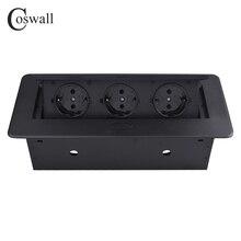 Coswall Zinklegering Plaat 16A Slow Pop Up 3 Power Eu Socket Kantoor Vergaderzaal Hotel Tafel Desktop Outlet Matte zwarte Cover