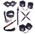 7PCS/set Sexy Genuine Leather Bondage Set,Fetish Restraints sex games Erotic Mask Whip Collar cuffs Mouth Gag Sex Toys Kit